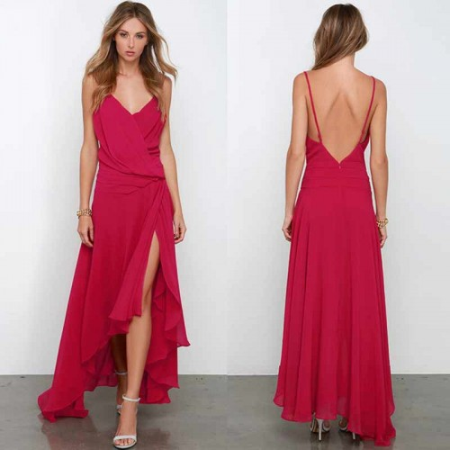 Irregular Cowl Neck Long Dress (Free Stick On Bra)