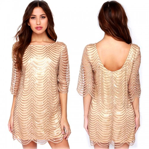 Gold Quarter Sleeves Dress (Size S,M)