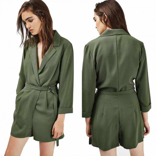 Long Sleeves Collar Romper (Size M)