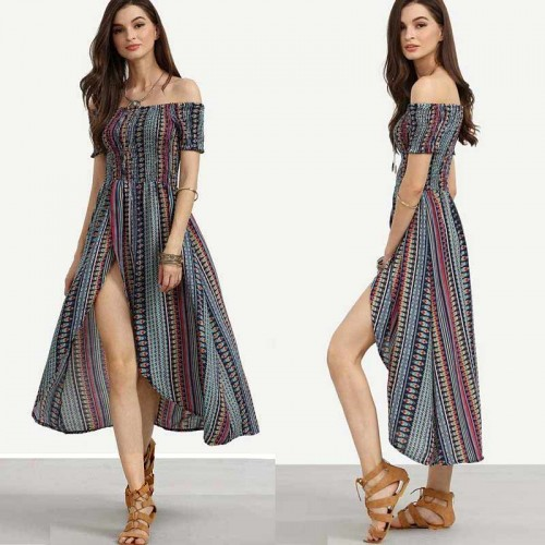 Printed Off Shoulder Slit Dress
