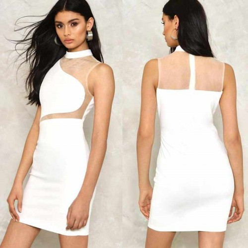 Irregular Sheer White Dress (Size S,M)