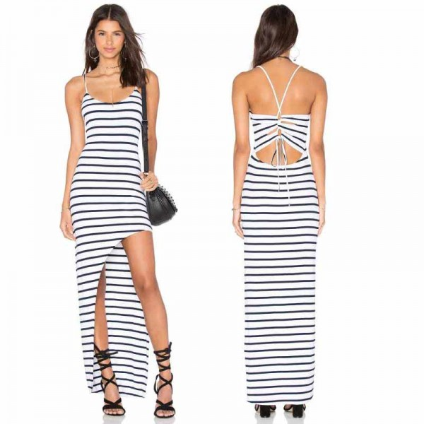 Stripped Slit Dress