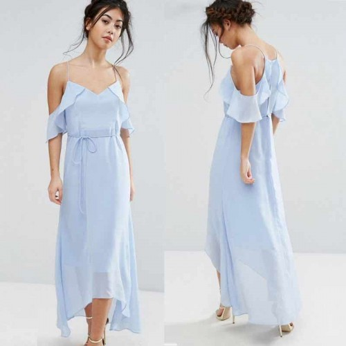 Baby Blue Ruffle Long Dress