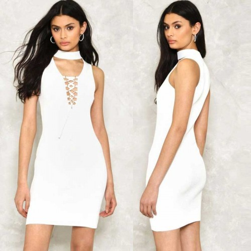 White Choker Pencil Dress