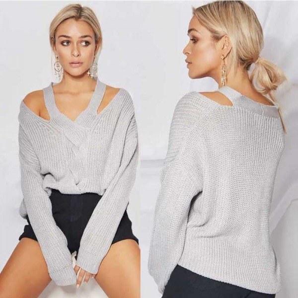Halter Neck Off Shoulder Sweater Top