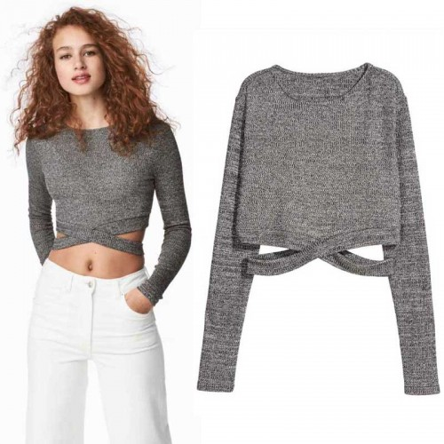 Cross Waist Long Sleeves Crop Top