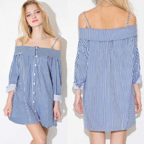 Off Shoulder Stripes Dress