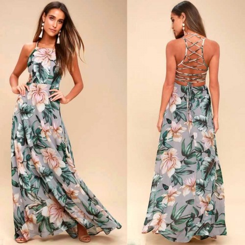 Cross Back Floral Maxi Dress (Size S,M)