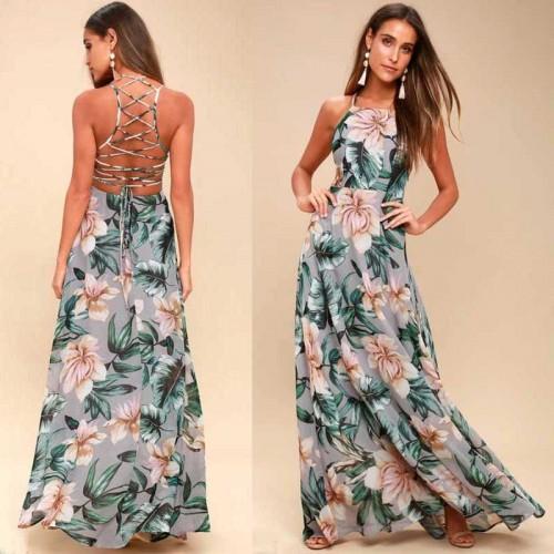 Cross Back Floral Maxi Dress