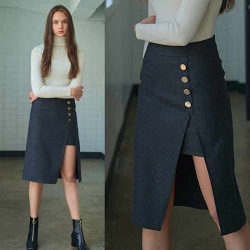 Button Slit Skirt