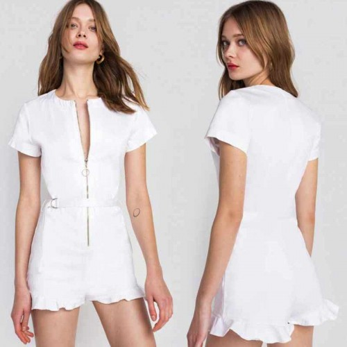 White Zipper Romper