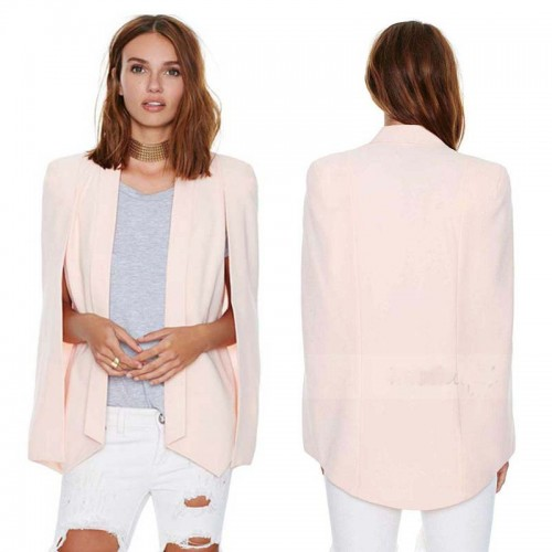 Pink Beige Cape Jacket