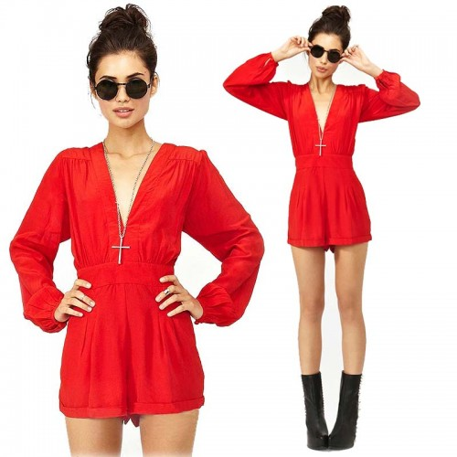 Red V Neck Long Sleevess Playsuit
