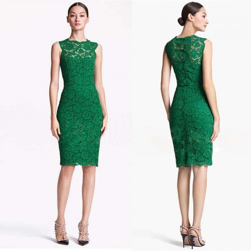 Green Sleeveless Midi Lace Dress