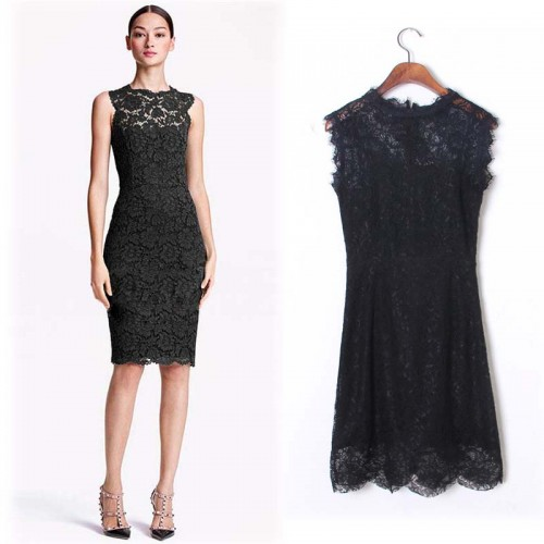 Black Sleeveless Midi Lace Dress