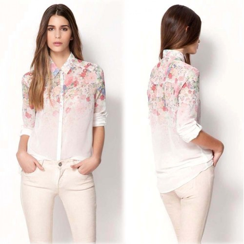 Floral Sheer Blouse Shirt (Size S,M)