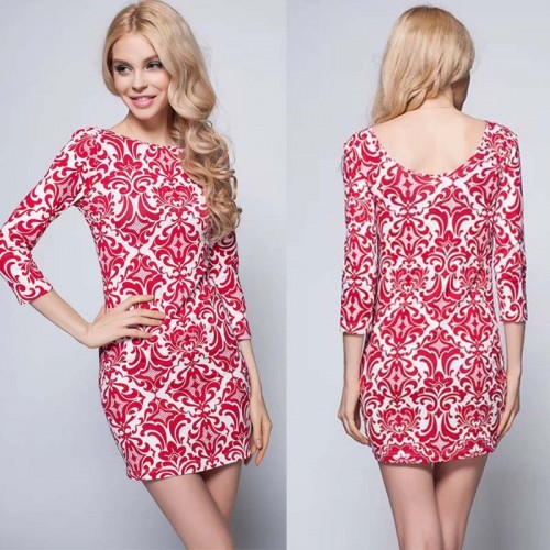 Printed Quater Sleevess Dress