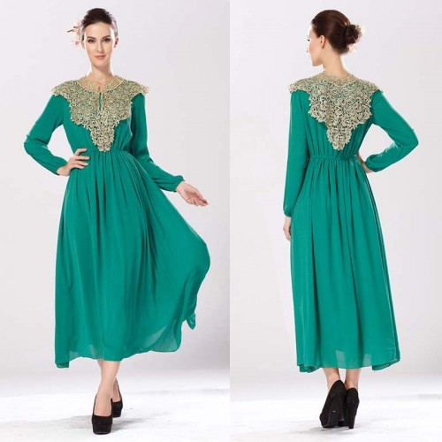 Green Long Sleeves Tribal Long Dress