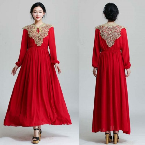 Red Long Sleeves Tribal Long Dress