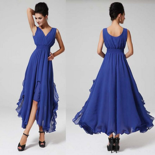Blue V Neck Irregular Sleevelss Dresss