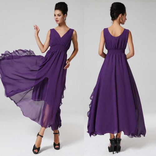 Purple V Neck Irregular Sleevelss Dresss