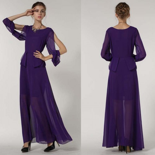 Purple Open Sleeves Long Dress