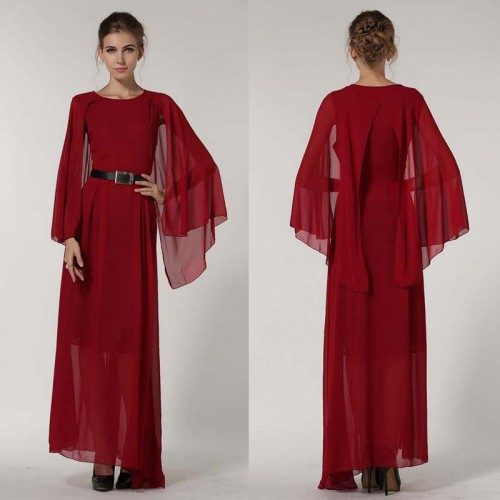 Red Long Cape Dress