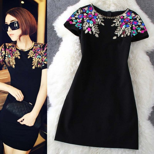 Elegant Black Sequins Short Dress (Size M)