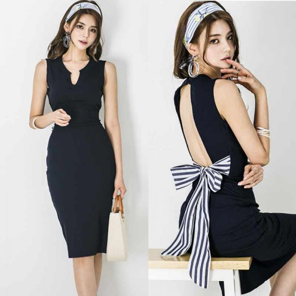 Ribbon Back Black Pencil Skirt
