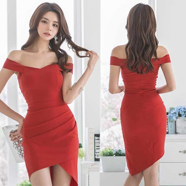 Off Shoulder Red Slit Dress