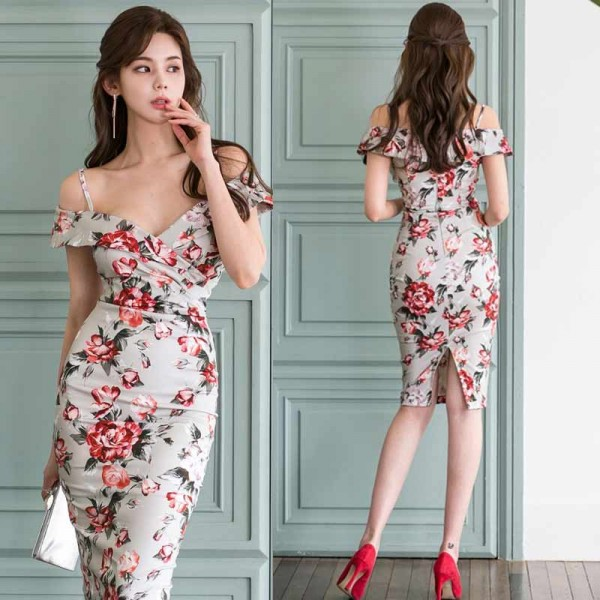 Floral Off Shoulder Midi Dress