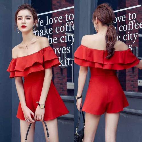 Off Shoulder Ruffle Romper (Red)