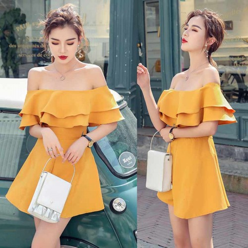 Off Shoulder Ruffle Romper (Yellow)