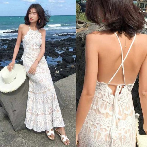 Crossback White Lace Long Dress