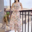 Elegant Floral Midi Dress (FREE STICK ON BRA)