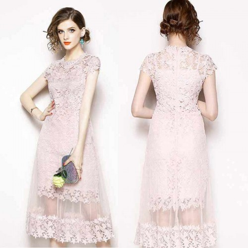 Midi Sheer Lace Dress