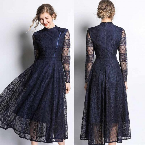 Deep Blue Long Lace Dress