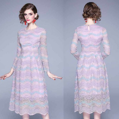 Purple Long Sleeves Lace Dress