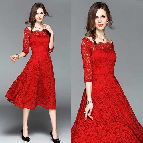 Red Off Shoulder Long Sleeved Lace Dress