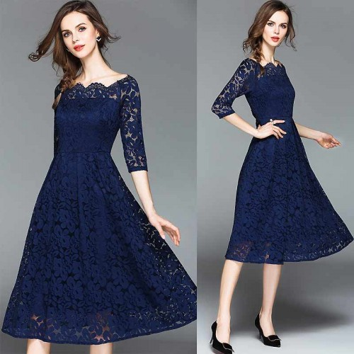 Blue Off Shoulder Long Sleeved Lace Dress