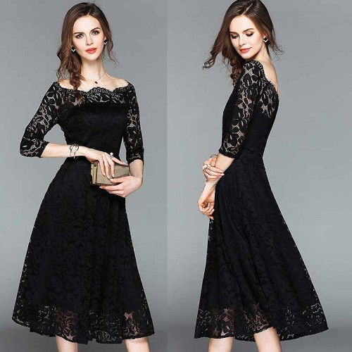 Black Off Shoulder Long Sleeved Lace Dress