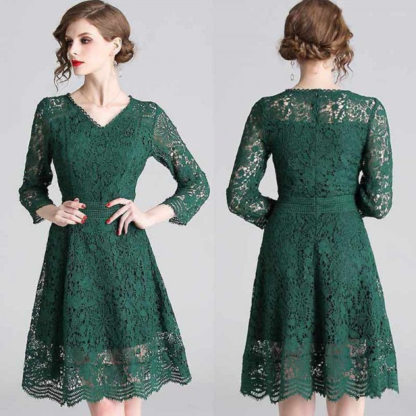 Green Long Sleeved Lace Dress