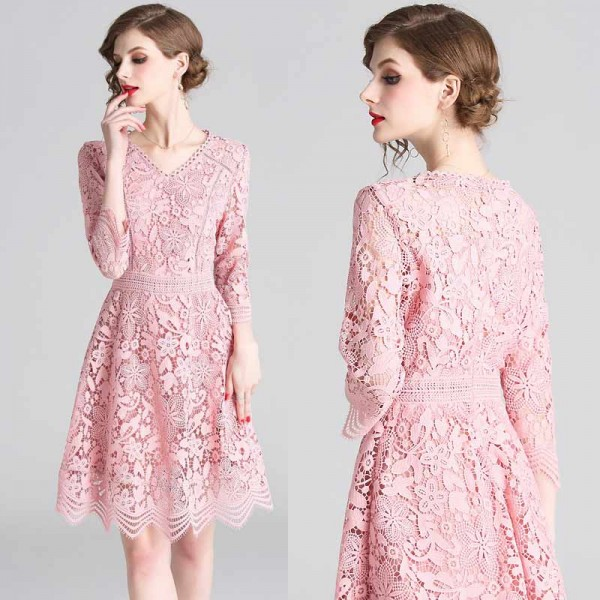 Pink Long Sleeved Lace Dress