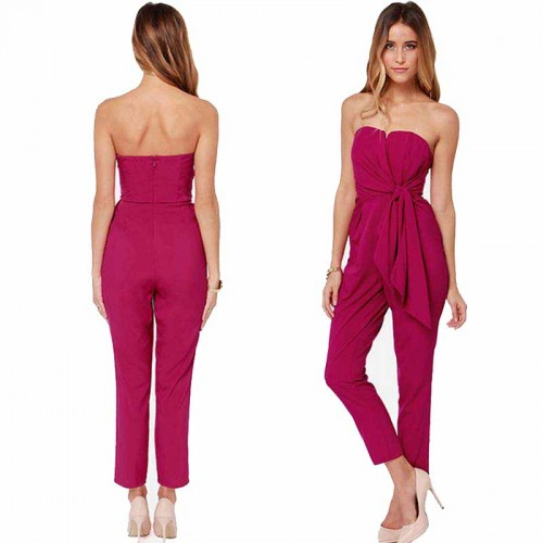 Maroon Pleated Jumpsuit