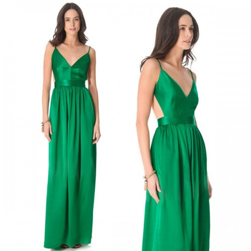 Green Cut Out Low Back Long Dress