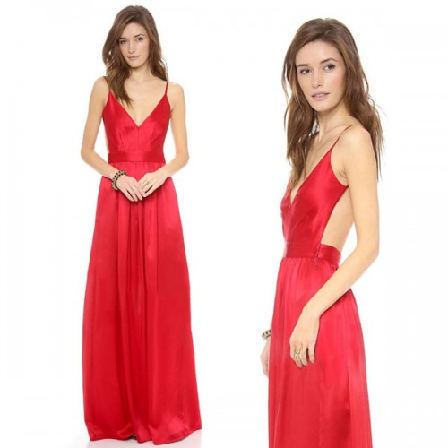 Red Low Back Long Dress (Size M)