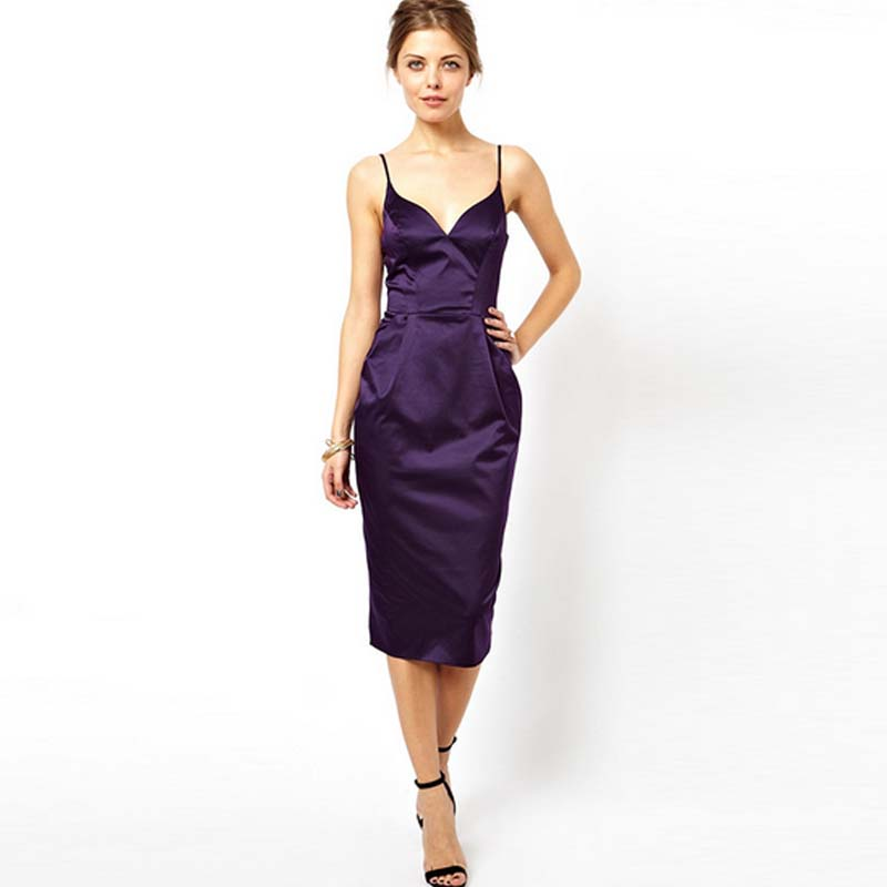 Purple Midi Cocktail Dress