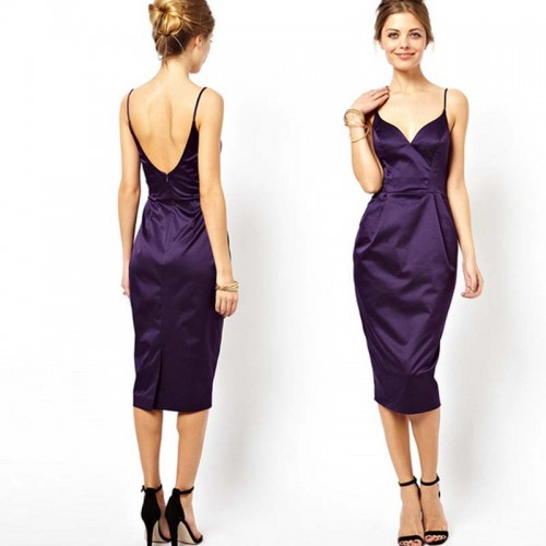 Purple Midi Cocktail Dress