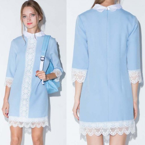 Quarter Sleeves Collar Lace Dress