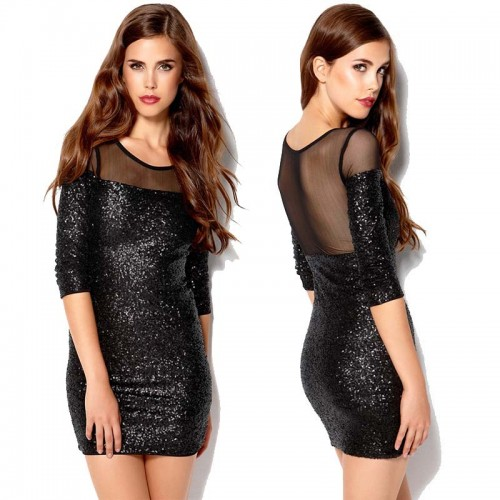 Sequin Sheer Back Dress